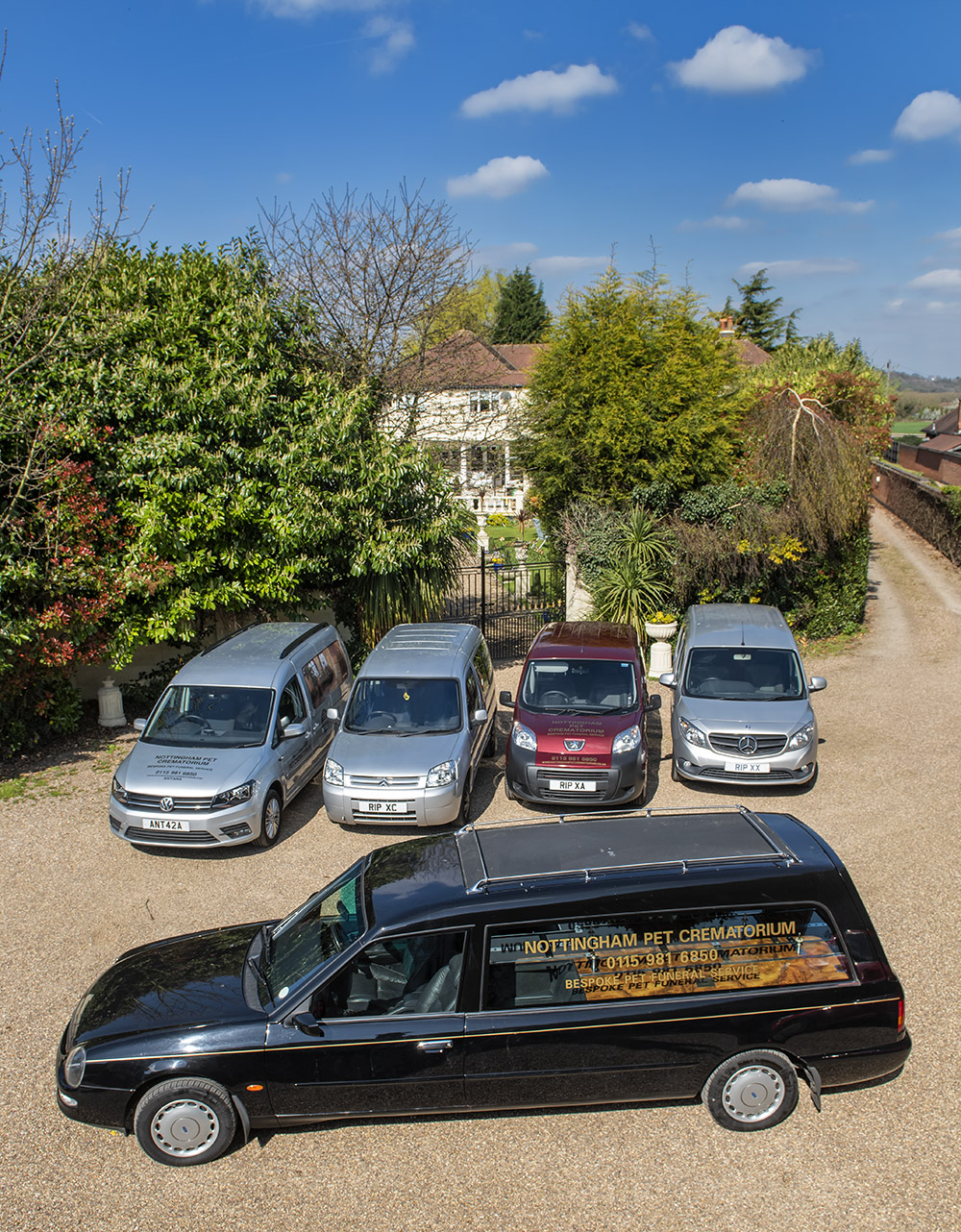 Our fleet of 5 multi-purpose vehicles including a traditional hearse