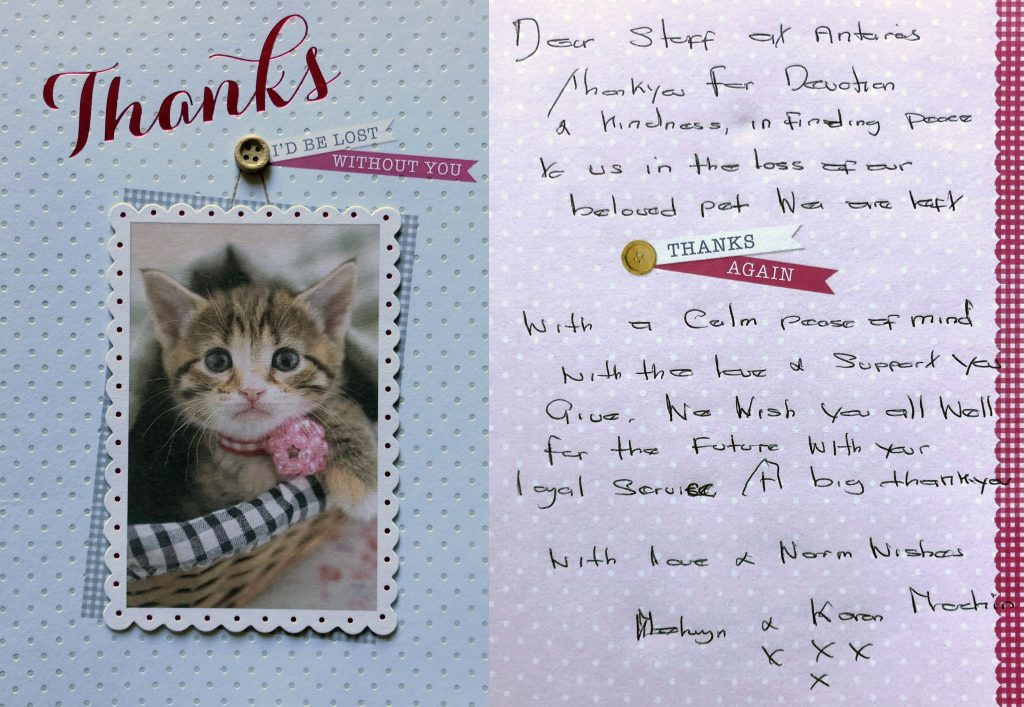 Card from pet lover